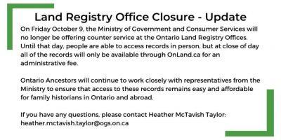 Land Registry Office Closure Update